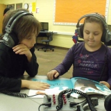 Kids at listening center